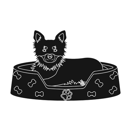Lounger for a pet, a sleeping place. Dog,care of a pet single icon in black style vector symbol stock illustration .