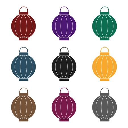 Korean lantern icon in  black style isolated on white background. South Korea symbol vector illustration.