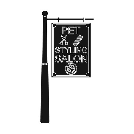 Stylish salon for a pet, a sign on a street post, Pet care single icon in black style vector symbol stock illustration . Ilustrace