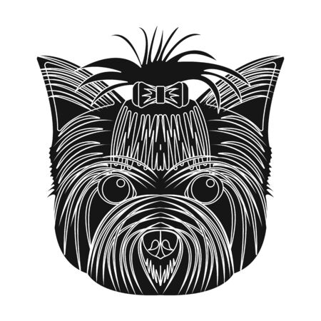 Muzzle of a pet, a hairdress dog with a bow. Pet,dog care single icon in black style vector symbol stock illustration .