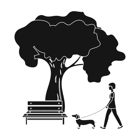 Boom en bank, vrouw loopt een huisdier in het park. Huisdier, hond zorg één pictogram in zwarte stijl vector symbool stock illustratie. Stock Illustratie