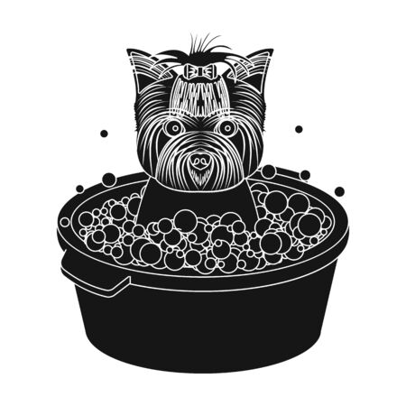 Bathing pet puppy in a bowl. dog,Pet,dog care single icon in black style vector symbol stock illustration .