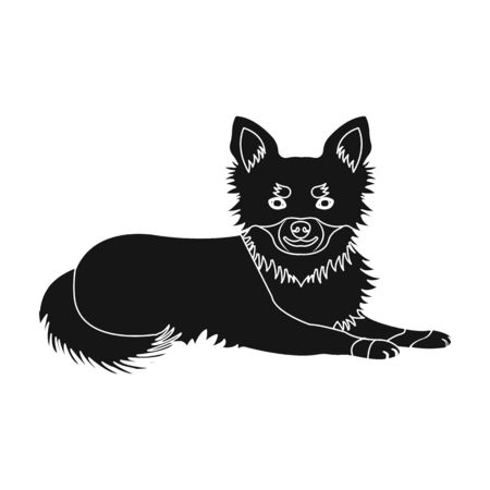 A pet, a lying dog. Pet,dog care single icon in black style vector symbol stock illustration . 向量圖像