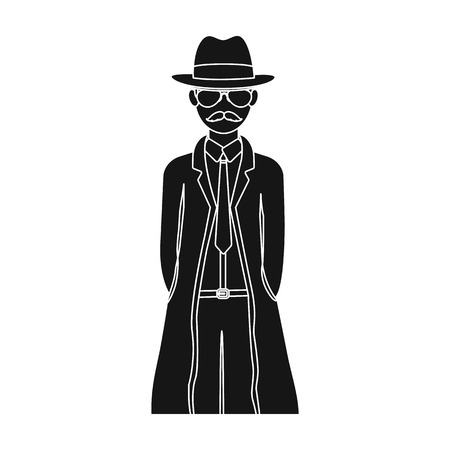 Appearance of the detective. Man detective in a hat and raincoat single icon in black style vector symbol stock illustration .