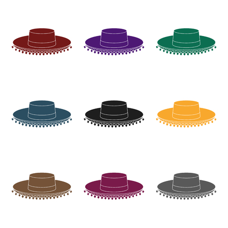 traje mexicano: Traditional spanish hat icon in black design isolated on white background. Spain country symbol stock vector illustration.