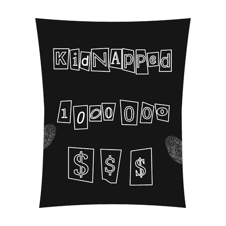 Abduction and ransom, criminal demand on the sheet. Kidnapping. single icon in black style vector symbol stock illustration . Illustration