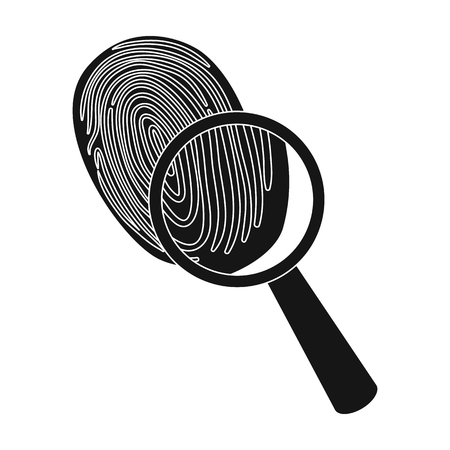 grooves: Investigation by fingerprint magnifier, crime. Loupe is a detective tool, single icon in black style vector symbol stock illustration . Illustration