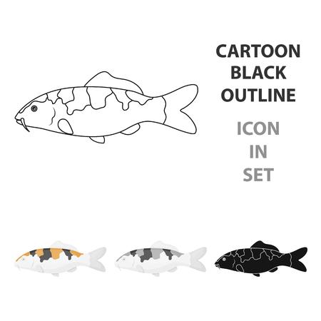 hokusai: Carp-koi fish icon cartoon. Singe aquarium fish icon from the sea,ocean  cartoon. Illustration