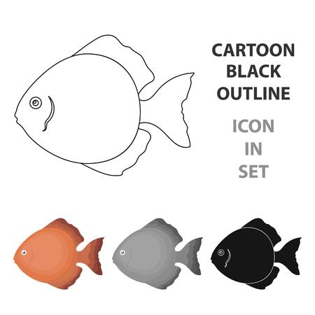 Discus fish icon cartoon. Singe aquarium fish icon from the sea,ocean  cartoon. Illustration