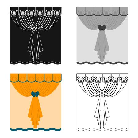 Curtains, single icon in cartoon style.Curtains, vector symbol stock illustration . Banco de Imagens - 87288228
