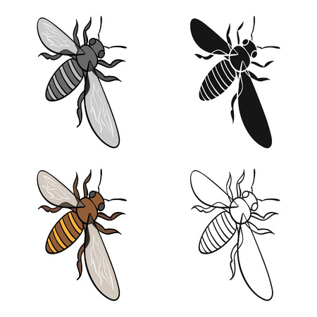 A bee, a hymenopteran insect. Stinging insect bee single icon in cartoon style vector symbol stock isometric illustration . Illustration