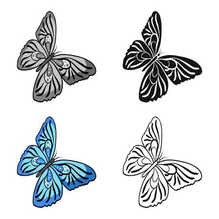 Butterfly with colorful wings. Insect butterfly single icon in cartoon style vector symbol stock isometric illustration .