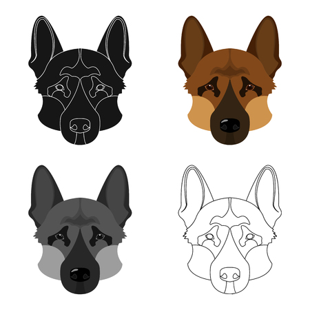 Dog breed, German Shepherd.Muzzle of the German Shepherd single icon in cartoon style vector symbol stock illustration . Illustration