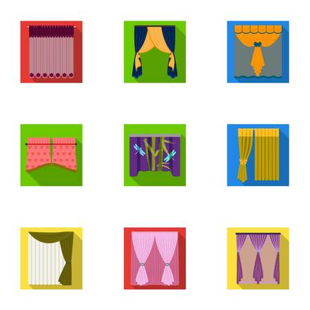 Curtains, lambrequins, cornice, and other  icon in flat style.Hand, textiles, furniture icons in set collection