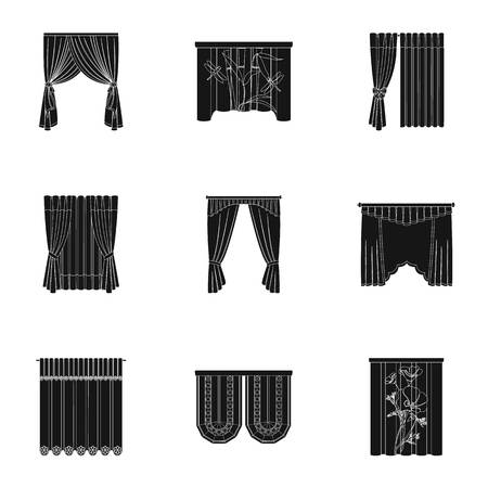 Curtains, lambrequins, cornice, and other  icon in black style.Hand, textiles, furniture icons in set collection