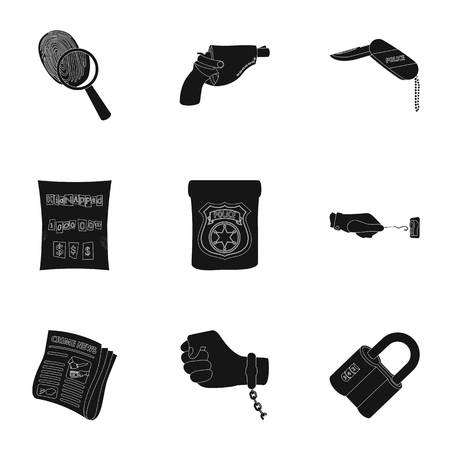 poison sign: A detective, a pistol in a holster, a police badge, a magnifying glass and a fingerprint, criminal news and other attributes. Detective and crime set collection icons in black style vector symbol stock illustration . Illustration
