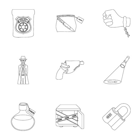 poison sign: A detective, a pistol in a holster, a police badge, a magnifying glass and a fingerprint, criminal news and other attributes. Detective and crime set collection icons in outline style vector symbol stock illustration . Illustration
