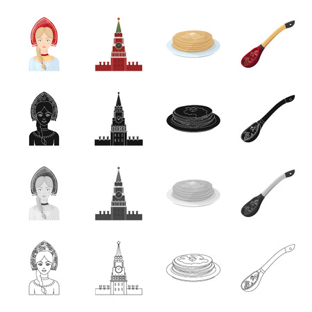Painted, Russia, country and other  icon in cartoon style. Flour, products, spoon icons in set collection. Illustration