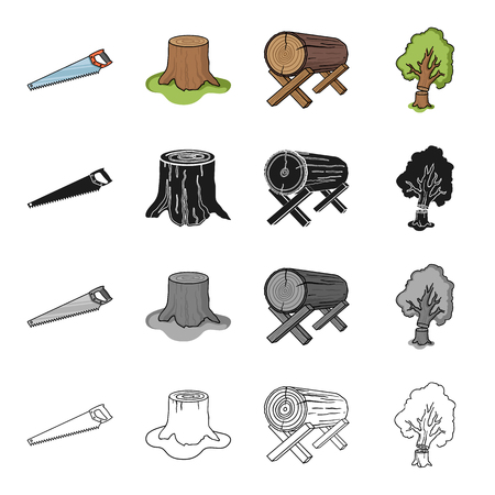 Enterprise, logger, ecology and other  icon in cartoon style.Wood, cutting, woodworking icons in set collection.