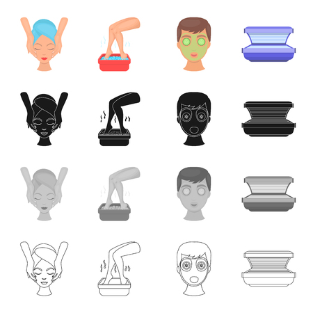 Hygiene, cosmetology, medicine and other icon in cartoon style.Solarium, tan, funds icons in set collection.