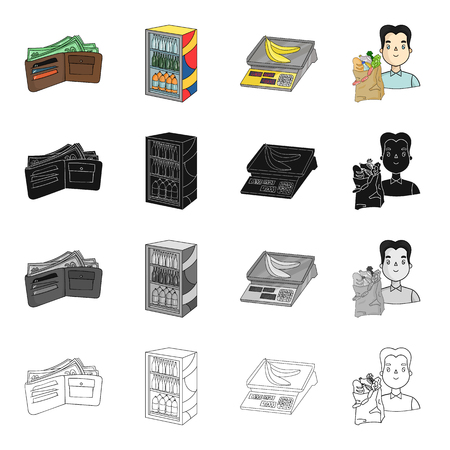 Food and other web icons in cartoon style.