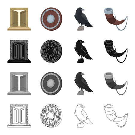 History, Vikings, weapons and other web icons in cartoon style.