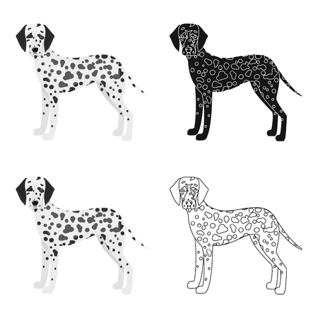 hounds: Dalmatian, single icon in cartoon style.Dalmatian vector symbol stock illustration web.