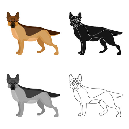 hounds: Shepherd single icon in cartoon style. Dog, vector symbol stock illustration web.