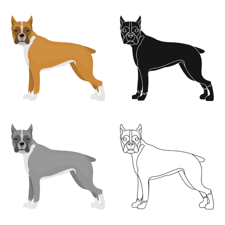hounds: Boxer, single icon in cartoon style.Boxer, vector symbol stock illustration web.