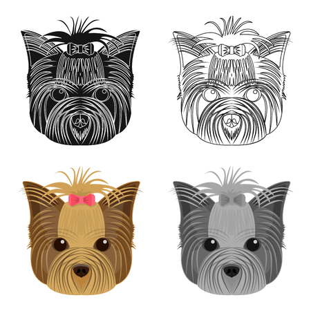 Muzzle of a pet, a hairdress dog with a bow. Pet ,dog care single icon in cartoon style vector symbol stock illustration web.
