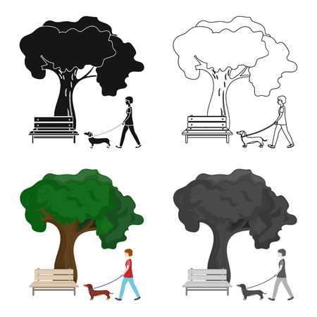 Tree and bench, woman walks a pet in the park. Pet ,Dog care single icon in cartoon style vector symbol stock illustration web.
