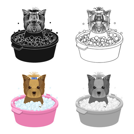 Bathing pet puppy in a bowl. dog,Pet,dog care single icon in cartoon style vector symbol stock illustration web.