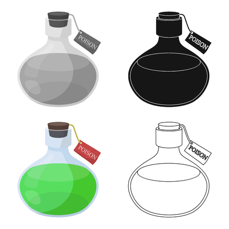 poison sign: The poison is in a vessel with a label. Poisoned liquid single icon in cartoon style vector symbol stock illustration web. Illustration