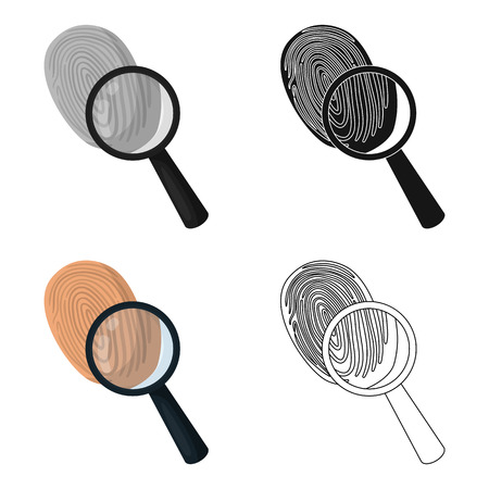 Investigation by fingerprint magnifier, crime. Loupe is a detective tool, single icon in cartoon style vector symbol stock illustration web.