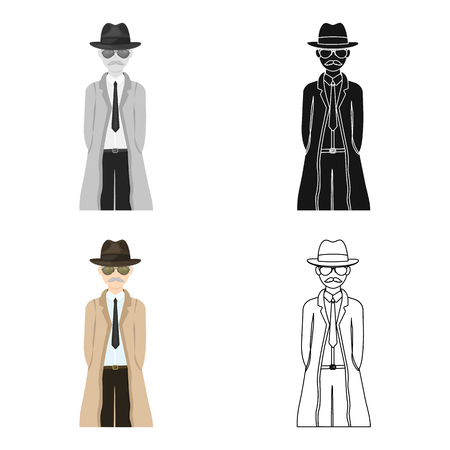 Appearance of the detective. Man detective in a hat and raincoat single icon in cartoon style vector symbol stock illustration web.