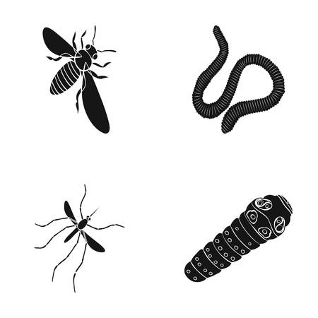 Arthropods insect mosquito, bee.Earth worm, caterpillar,vermicular set collection icons in black style vector symbol stock isometric illustration web. Illustration