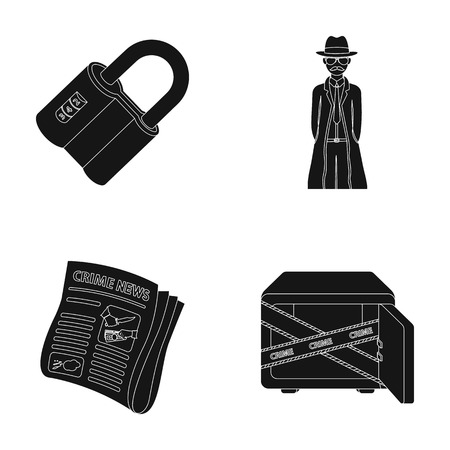 Coded lock, the appearance of the detective, a newspaper with criminal news, a hacked safe. Crime and detective set collection icons in black style vector symbol stock illustration web.