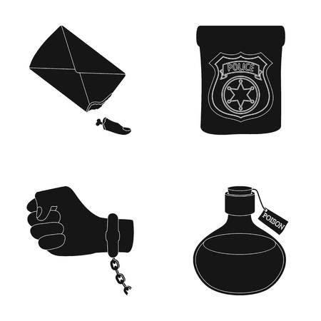 poison sign: The detectives badge, the handcuff on the criminals hand, the stump of the finger in the bag, the flask with the poison. Crime and detective set collection icons in black style vector symbol stock illustration web.