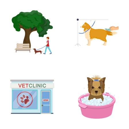 Walking with a dog in the park, combing a dog, a veterinarians office, bathing a pet. Vet clinic and pet care set collection icons in cartoon style vector symbol stock illustration web.