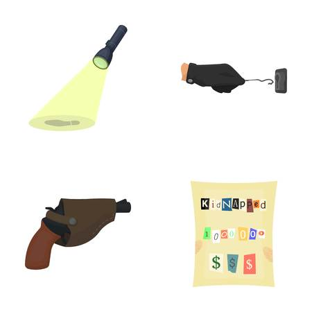 The detectives flashlight illuminates the footprint, the criminals hand with the master key, a pistol in the holster, the kidnappers claim. Crime and detective set collection icons in cartoon style vector symbol stock illustration web. Illustration