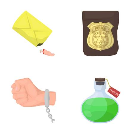 The detectives badge, the handcuff on the criminals hand, the stump of the finger in the bag, the flask with the poison. Crime and detective set collection icons in cartoon style vector symbol stock illustration web.