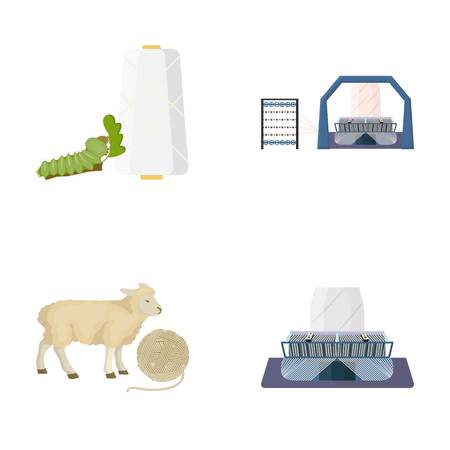 Cotton, coil, thread, pest, and other web icon in cartoon style. Textiles, industry, gear icons in set collection.