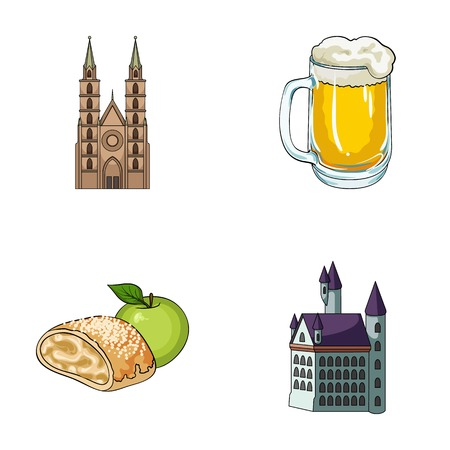 Architecture, bâtiment, cathédrale et autre icône web dans le style de bande dessinée. Allemagne, histoire, cuisine, icônes dans la collection de jeu. Banque d'images - 87381496