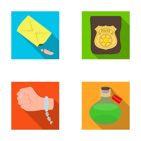 poison sign: The detectives badge, the handcuff on the criminals hand, the stump of the finger in the bag, the flask with the poison. Crime and detective set collection icons in flat style vector symbol stock illustration web.