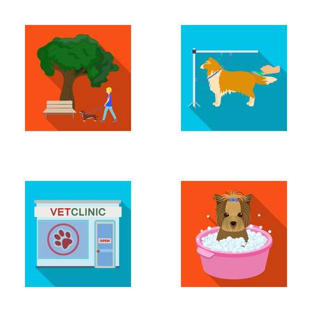 Walking with a dog in the park, combing a dog, a veterinarians office, bathing a pet. Vet clinic and pet care set collection icons in flat style vector symbol stock illustration web. Illustration