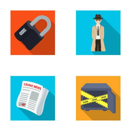 Coded lock, the appearance of the detective, a newspaper with criminal news, a hacked safe. Crime and detective set collection icons in flat style vector symbol stock illustration web. Illustration
