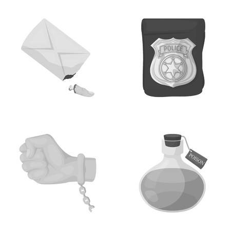 poison sign: The detectives badge, the handcuff on the criminals hand, the stump of the finger in the bag, the flask with the poison. Crime and detective set collection icons in monochrome style vector symbol stock illustration web. Illustration