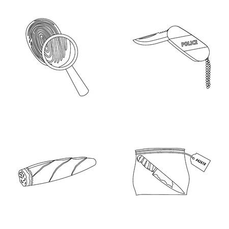 A fingerprint study, a folding knife, a cigar detective, a crime weapon tool in the package. Crime and detective set collection icons in outline style vector symbol stock illustration web.