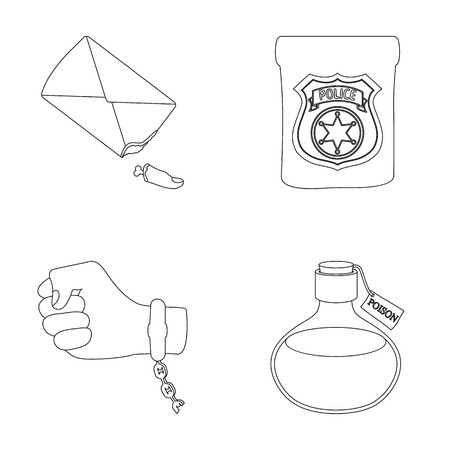 poison sign: The detectives badge, the handcuff on the criminals hand, the stump of the finger in the bag, the flask with the poison. Crime and detective set collection icons in outline style vector symbol stock illustration web.