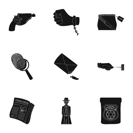 poison sign: A detective, a pistol in a holster, a police badge, a magnifying glass and a fingerprint, criminal news and other attributes. Detective and crime set collection icons in black style vector symbol stock illustration web.